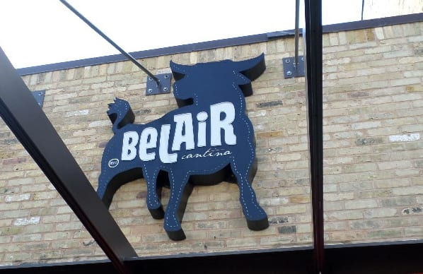 Custom Belair Cantina wall sign designed and installed by Sign Effectz, Milwaukee.