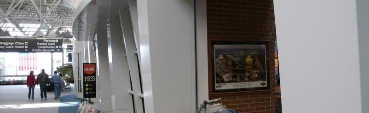 Custom cladding at General Mitchell International Airport installed by Milwaukee-based Sign Effectz.