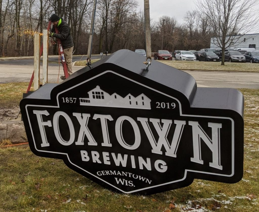 monument sign for foxtown brewing company