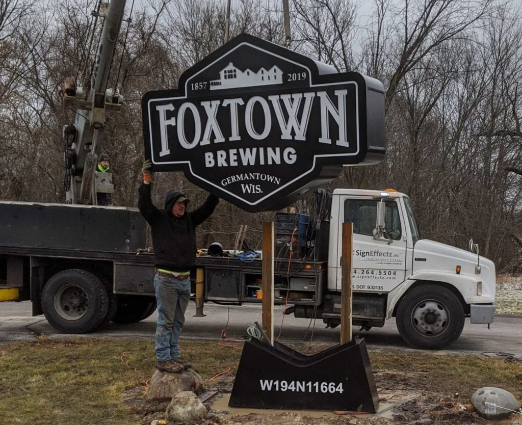 monument sign installation in Germantown, Wisconsin