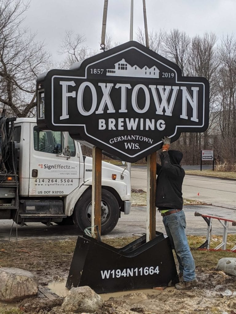 new sign installation at Foxtown Brewing Company in Germantown, WI