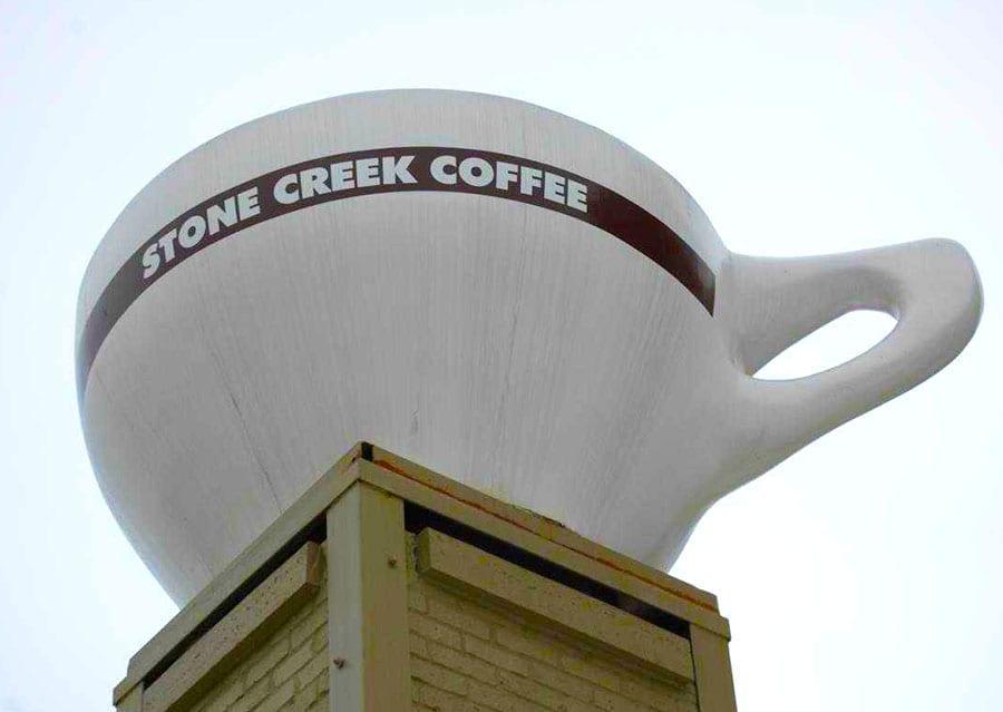 stone creek coffee sign installation milwaukee